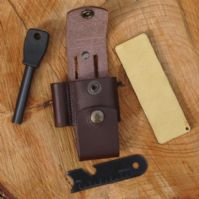 Mk II TBS Leather Nordic Dangler Type Knife Sheath with DC4 and Firesteel Attachment - REGULAR
